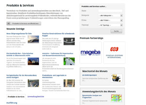 Screenshot Produkte und Services